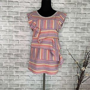 Marc By Marc Jacobs Cap Sleeve Pastel Striped Top